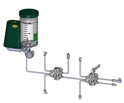 Einleiter-Fließfett-Anlage mit Progressivverteilern